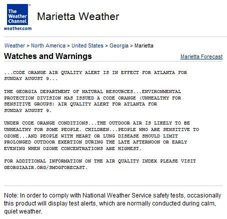 Severe Weather Alert Marietta