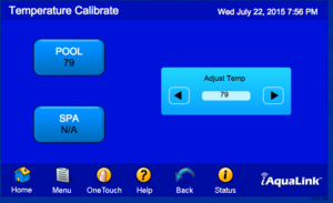 Temperature Calibration Screen for iAqualink